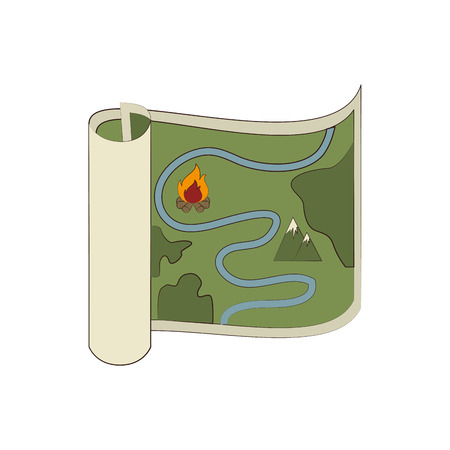 orienteering: Map orienteering draw ,isolated colorful icon design Illustration
