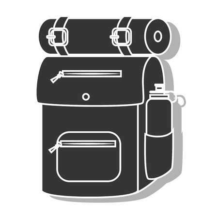 sleeping bags: Camping backpack sleeping ,isolated black and white flat icon design Illustration