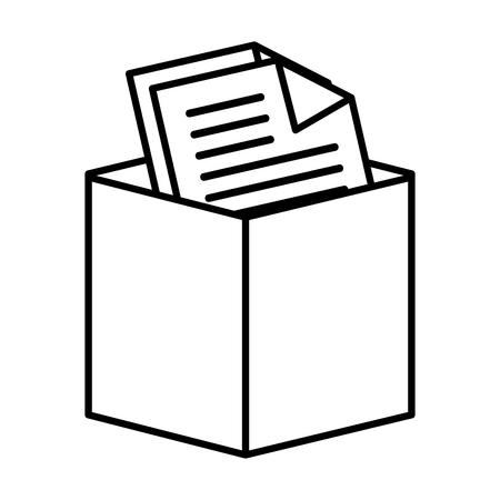 design office: Office documents box, isolated flat icon design. Illustration