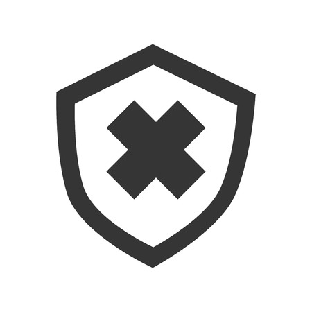 best security: Security badge cross, isolated flat icon design