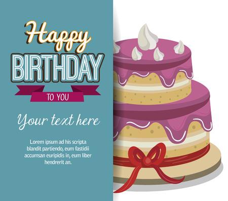 Alles Gute zum Geburtstag Kuchen isoliert Icon Design, Vektor-Illustration Grafik Standard-Bild - 60040372