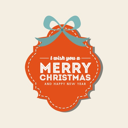 Merry Christmas concept represented by label with bowtie icon. Colorfull and flat illustration. Illustration
