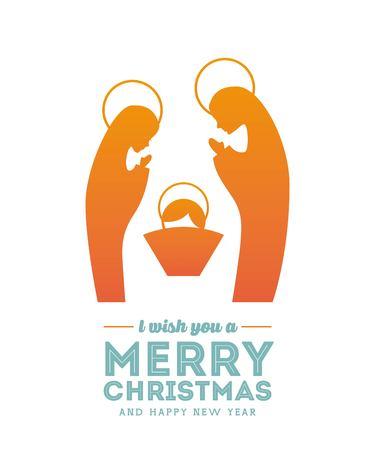 Buon Natale concetto rappresentato da un'icona sacra famiglia. Colorfull e illustrazione piatta.