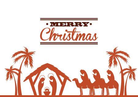 sacra famiglia: Buon Natale concetto rappresentato da un'icona sacra famiglia. Colorfull e illustrazione piatta.