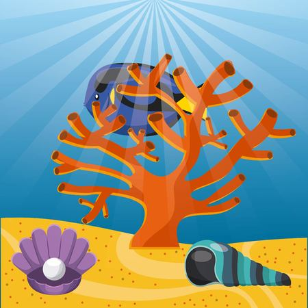 submerged: Sea life concept represented by cora, shell and fish icon. Colorfull and flat illustration. Illustration