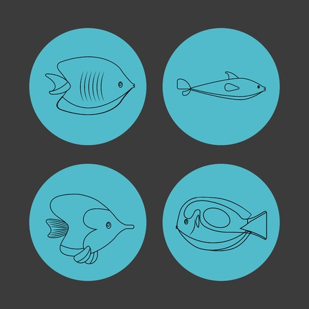 submerged: Sea life concept represented by icon set over circles. Colorfull and flat illustration.