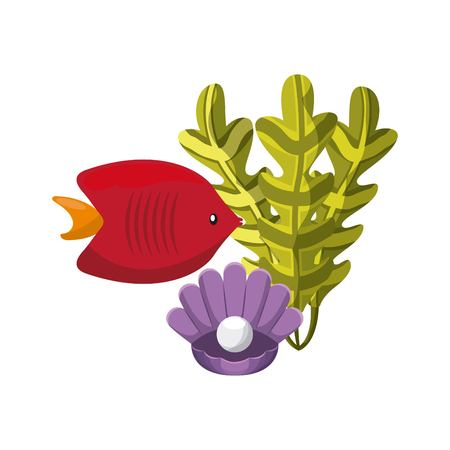 submerged: Sea life concept represented by algae, fish and shell icon. Colorfull and flat illustration.