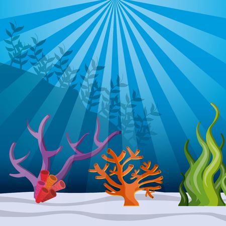 pflegeversicherung: Sea life concept represented by coral and algae with fish icon. Colorfull and flat illustration.