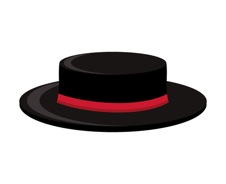 black hat: flamenco cap isolated icon design, vector illustration  graphic