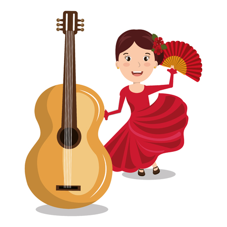 sexy girl dance: flamenco dancer with guitar isolated icon design, vector illustration  graphic Illustration