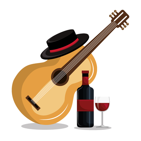 wine bottle with guitar isolated icon design, vector illustration  graphic
