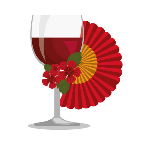 spanish fan: spanish fan with wine cup isolated icon design, vector illustration  graphic Illustration