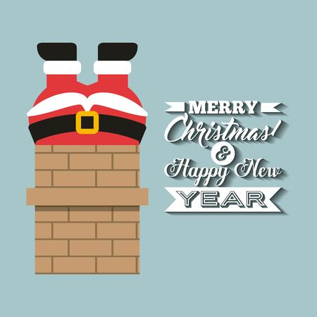 chimney: Merry Christmas concept represented by santa cartoon and chimney icon. Colorfull and vintage illustration. Illustration