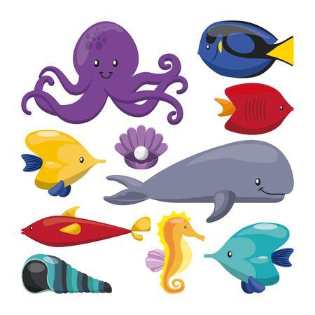 caballo de mar: concepto de la vida de mar representada por los crust�ceos ballena de ostras y pulpos icono del caballo de mar. ilustraci�n llena de color. Vectores