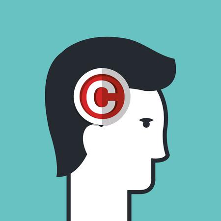 Kopieren Sie rechts Dichtung über Kopf menschlich isoliert Icon Design, Vektor-Illustration Grafik