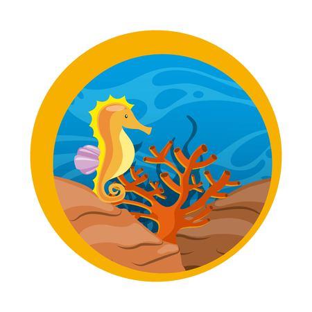 caballo de mar: concepto de vida marina representada por caballitos de mar y el icono de coral en el sello de sello. ilustración llena de color.