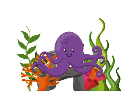 Sea life concept represented by purple octopus icon. Colorfull illustration.