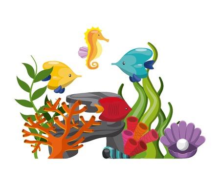 caballo de mar: concepto de vida marina representado por la piedra algas peces de coral concha de ostra y el icono de caballito de mar. ilustraci�n llena de color.