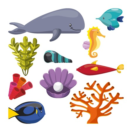 caballo de mar: concepto de vida marina representada por algas coralinas de ostras y mariscos ballena icono del caballo de mar. ilustraci�n llena de color. Vectores