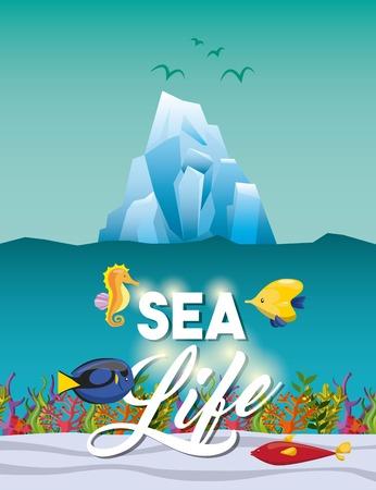 caballo de mar: concepto de vida marina representada por el caballo de mar icono de iceberg y peces tropicales. ilustración llena de color.