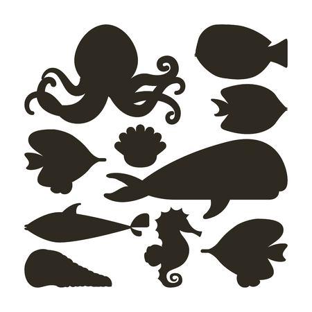 caballo de mar: concepto de la vida de mar representada por los crust�ceos ballena de ostras y pulpos icono del caballo de mar. Ilustraci�n blanco y negro.