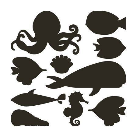 horse fish: Sea life concept represented by fish oyster octopus whale shell and sea horse icon. Black and White illustration.