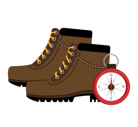 camping boots shoes with compass  isolated icon design, vector illustration  graphic Illustration