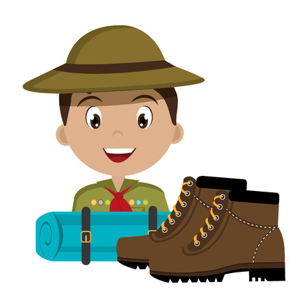 exploration: scout character  with boots isolated icon design, vector illustration  graphic