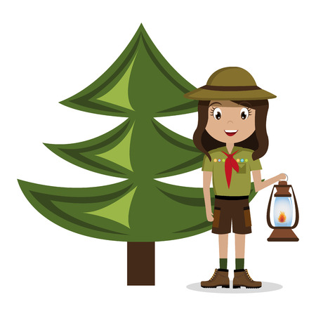 scout character with pine isolated icon design, vector illustration  graphic Ilustração