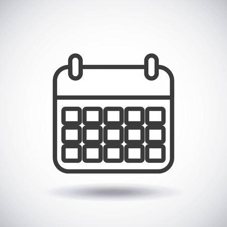 calendar isolated: Silhouette icon concept represented by black calendar. Isolated and shiny illustration.