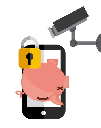 menace: Security and Protection concept represented by piggy smartphone cctv and padlock icon. Colorfull and flat illustration. Illustration