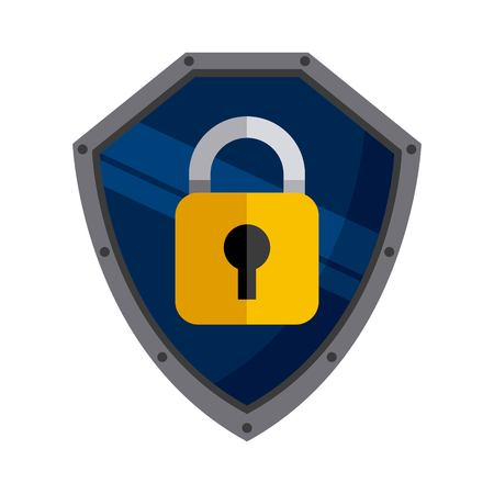 menace: Security and Protection concept represented by padlock icon inside shield. Colorfull and flat illustration. Illustration