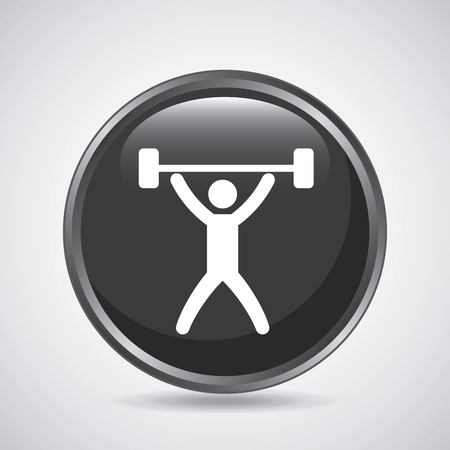 over weight: Fitness and button concept represented by weight lifting icon over button shape. Isolated and flat illustration.