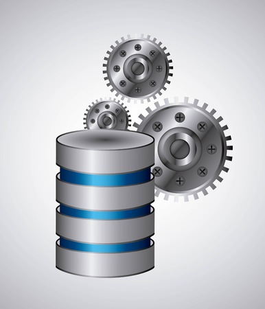 Data center concept represented by web hosting and gears icon. Colorfull and flat illustration. Illustration