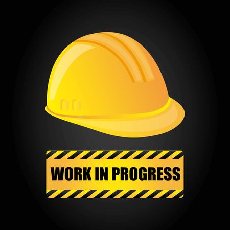 construction helmet: Under construction and Work in Progress concept represented by helmet icon. Colorfull and flat illustration.