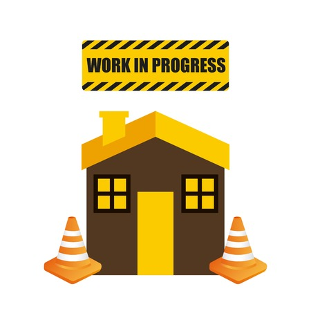 house under construction: Under construction and Work in Progress concept represented by house and cone icon. Colorfull and flat illustration. Illustration