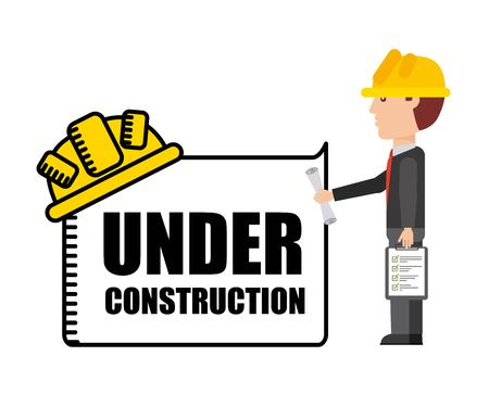 arquitecto caricatura: En construcci�n y Trabajo en Progreso concepto representado por el icono de dibujos animados arquitecto. Llena de color e ilustraci�n plana.