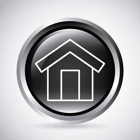 residential neighborhood: Silhouette and button concept represented by white house icon. Isolated and shiny illustration.