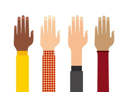 human hand: Teamwork concept represented by human hand icon. Colorfull and flat illustration.
