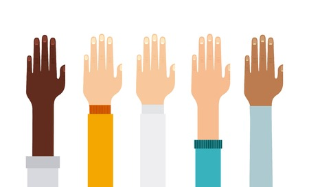 constructing: Teamwork concept represented by human hand icon. Colorfull and flat illustration.