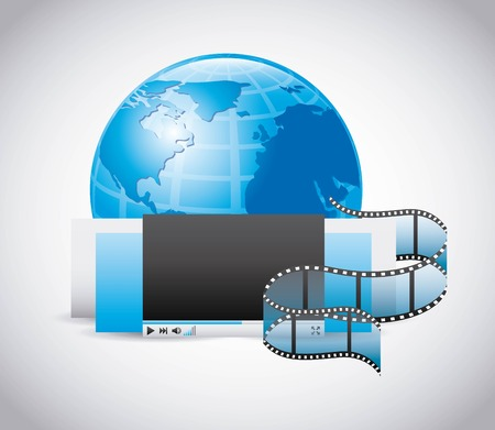 cinema viewing: Movie concept represented by planet play and film strip icon. Colorfull and flat illustration. Illustration