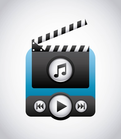 clapboard: Movie concept represented by clapboard and play icon. Colorfull and flat illustration.