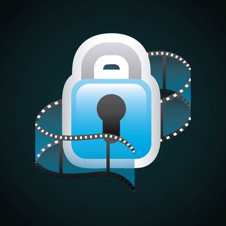 cinema viewing: Movie concept represented by film strip and padlock icon. Colorfull and flat illustration.