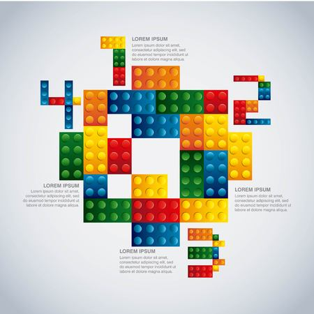 infomation: Infographic concept represented by geometric puzzle icon. Colorfull and flat illustration.