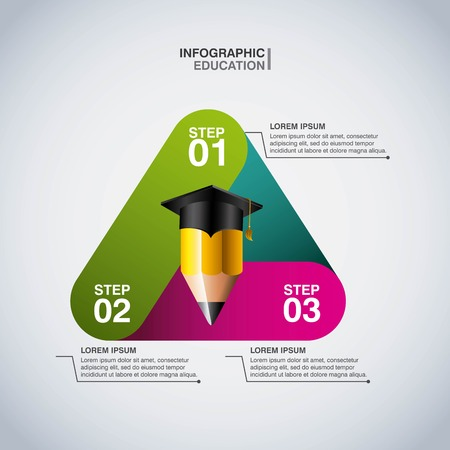 infomation: Infographic education concept represented by pencil icon. Colorfull and flat illustration.