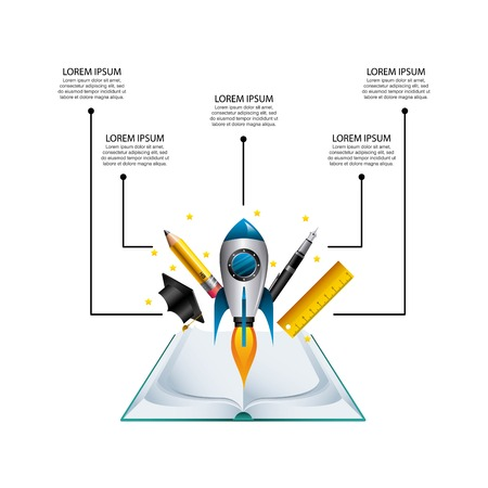 rule: Infographic education concept represented by book cap pen rocket pencil rule icon. Colorfull and flat illustration.