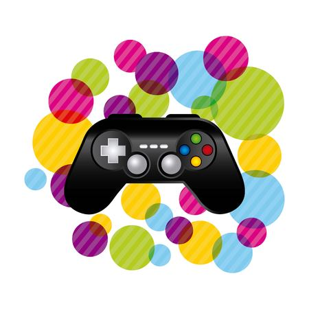 obsession: Video game concept represented by control with striped circles icon. Colorfull and flat illustration.