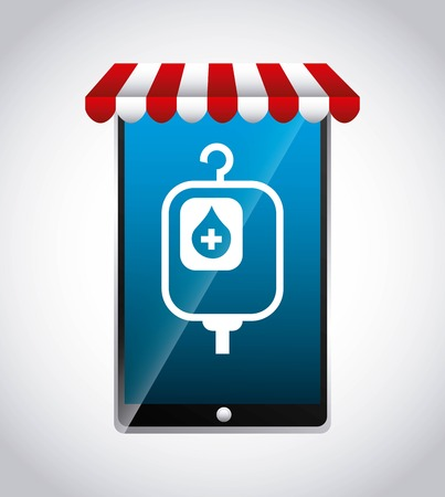 blood bag: Medical and health care concept represented by smartphone and blood bag icon. Colorfull and flat illustration.