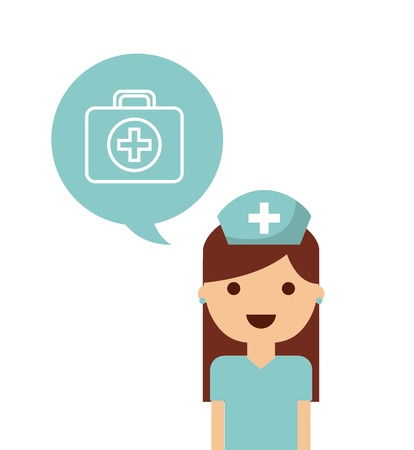 health care concept: Medical and health care concept represented by medical kit and nurse icon. Colorfull and flat illustration. Illustration