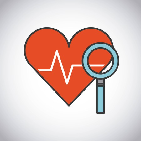 biomedical: Medical and health care concept represented by lupe and stethoscope icon. Colorfull and flat illustration. Illustration